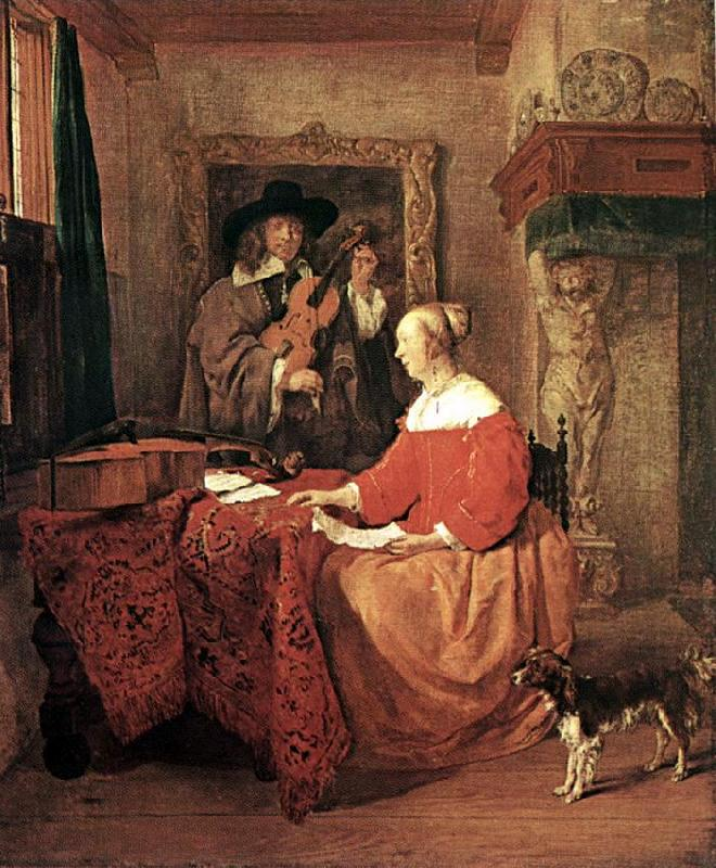 METSU, Gabriel A Woman Seated at a Table and a Man Tuning a Violin sg oil painting image