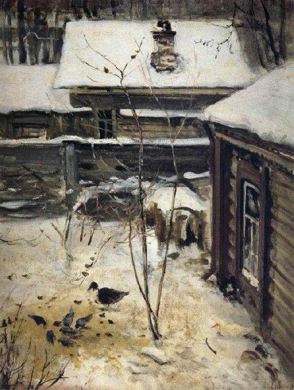 A.K.Cabpacob Yard-Winter oil painting picture