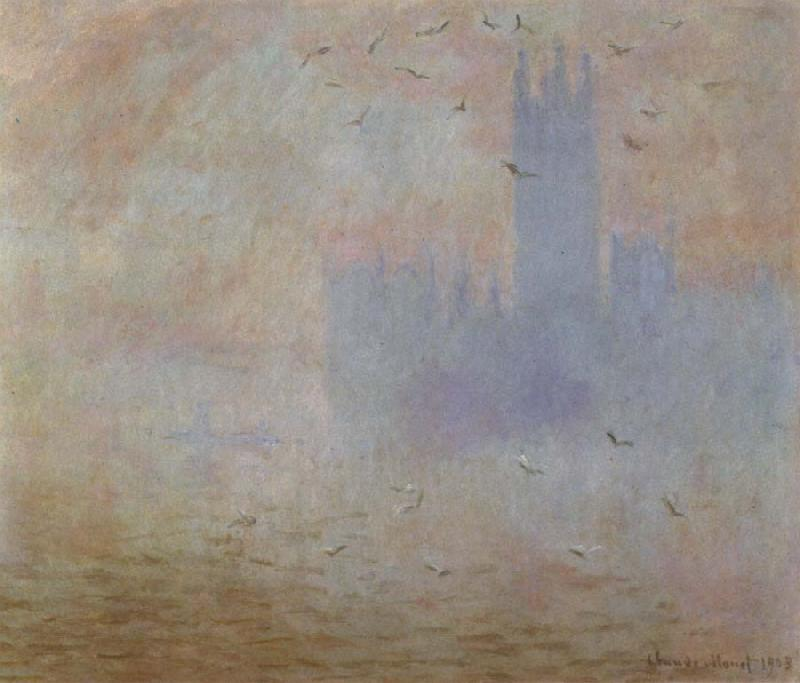 Claude Monet Houses of Parliament,Effect of Sunlight in the Fog oil painting picture