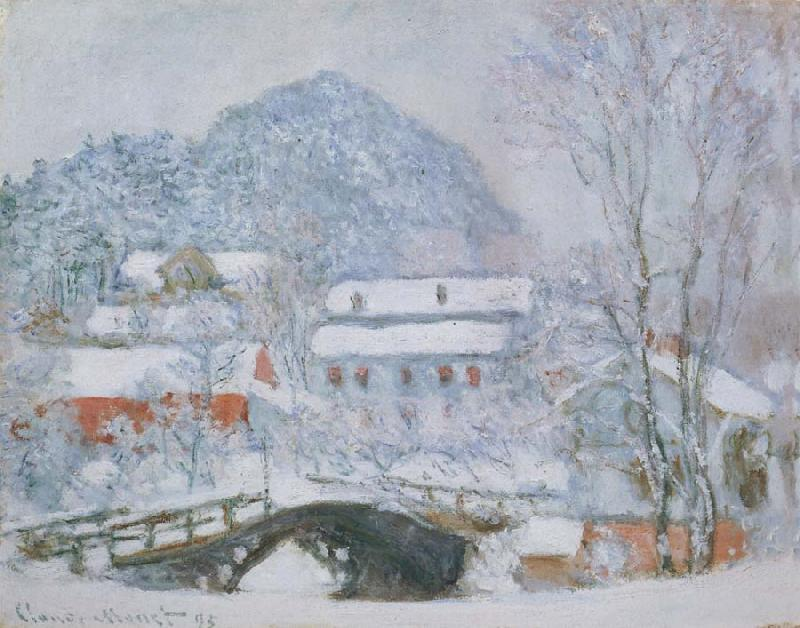 Claude Monet Sandviken Village in the Snow oil painting picture