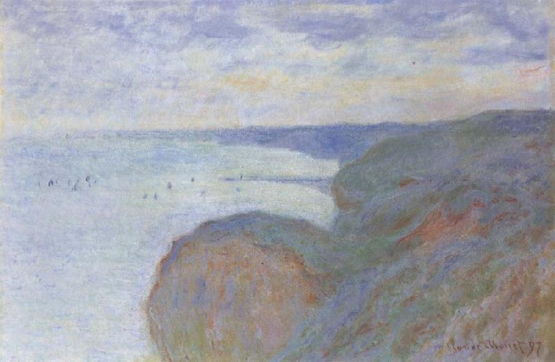 Claude Monet On the Cliff near Dieppe,Overcast Skies oil painting picture