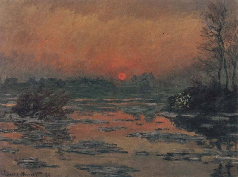 Claude Monet Sunset on the Seine in Winter oil painting picture
