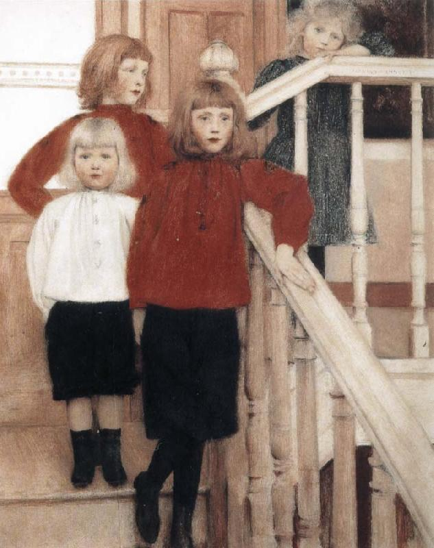 Fernand Khnopff Portrait of the Children of Louis Neve oil painting picture