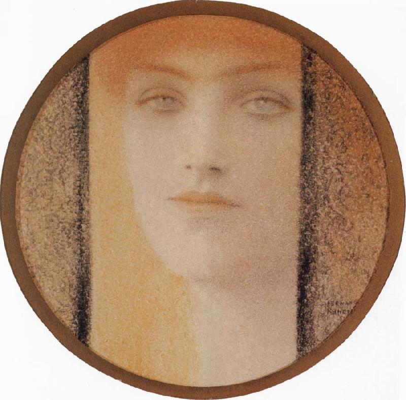 Fernand Khnopff Mask With a black curtain oil painting picture