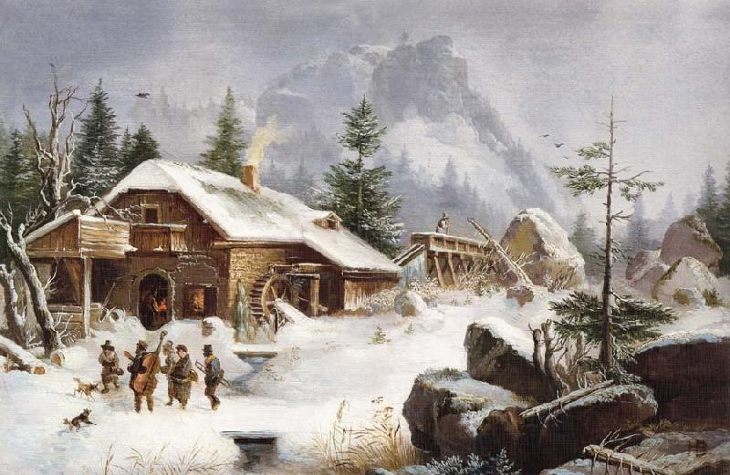Heinrich Burkel A Village Gathering oil painting picture