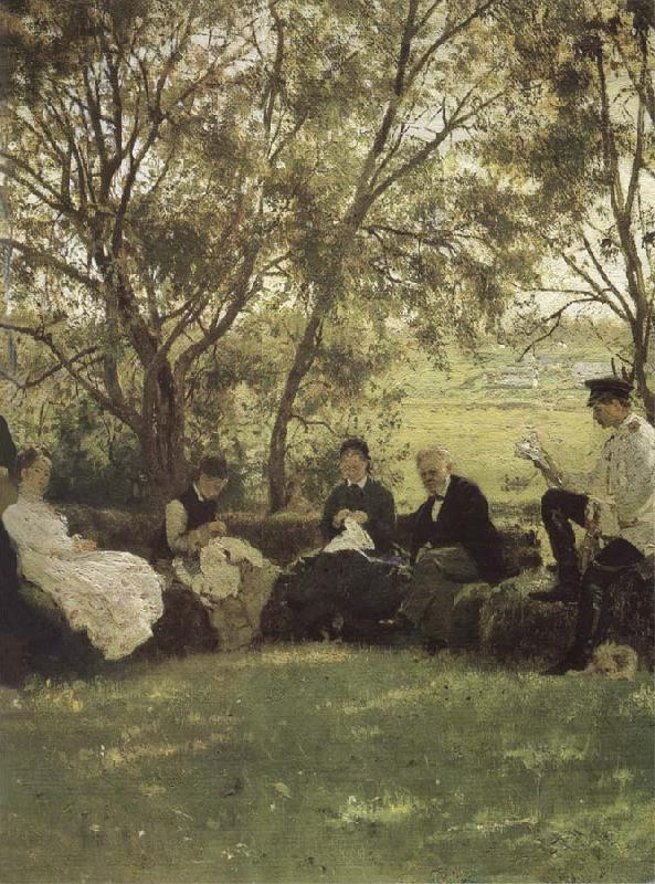 Ilya Repin On the Turf bench oil painting picture