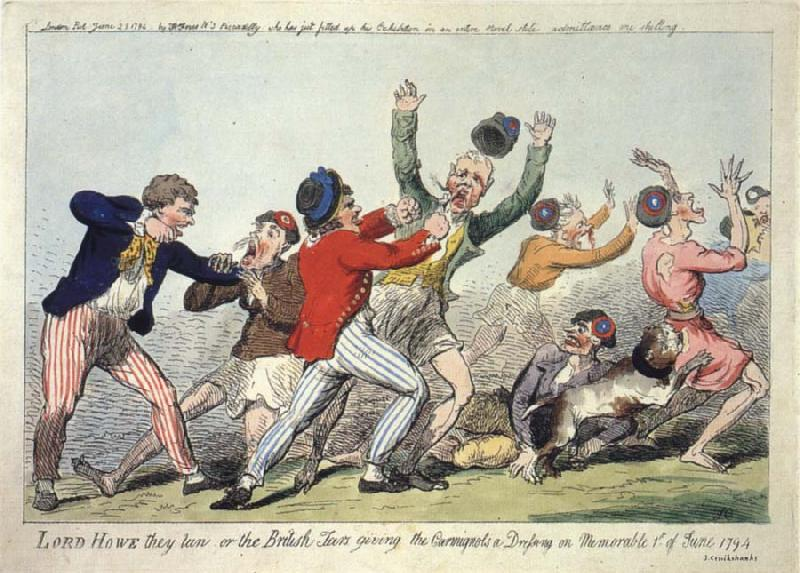 Isaac Cruikshank Lord Howe they run or The British Tars giving the Carmignols a Dressing on the Memorable 1st of June 1794 oil painting picture