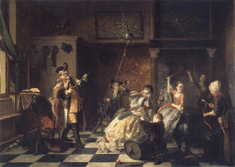 Jan Steen As the old sing,so twitter the young oil painting picture