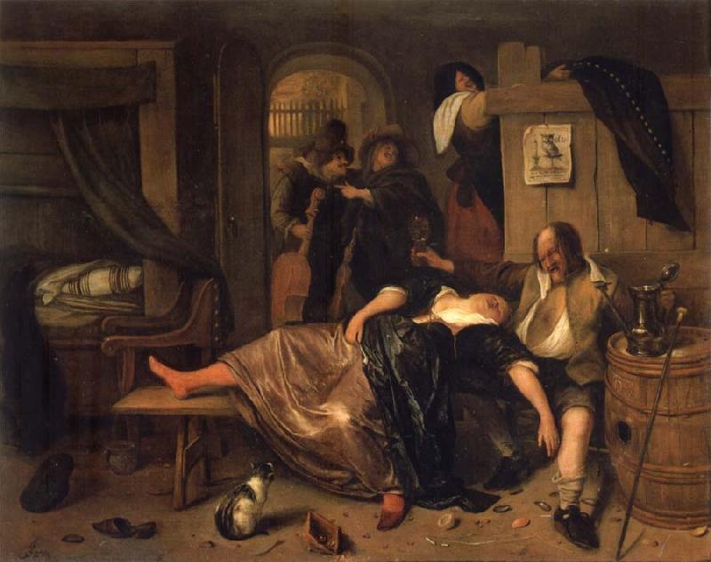 Jan Steen The Drunken couple. oil painting picture