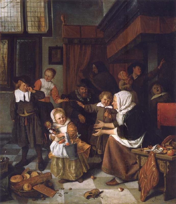 Jan Steen The Feast of St Nicholas oil painting picture