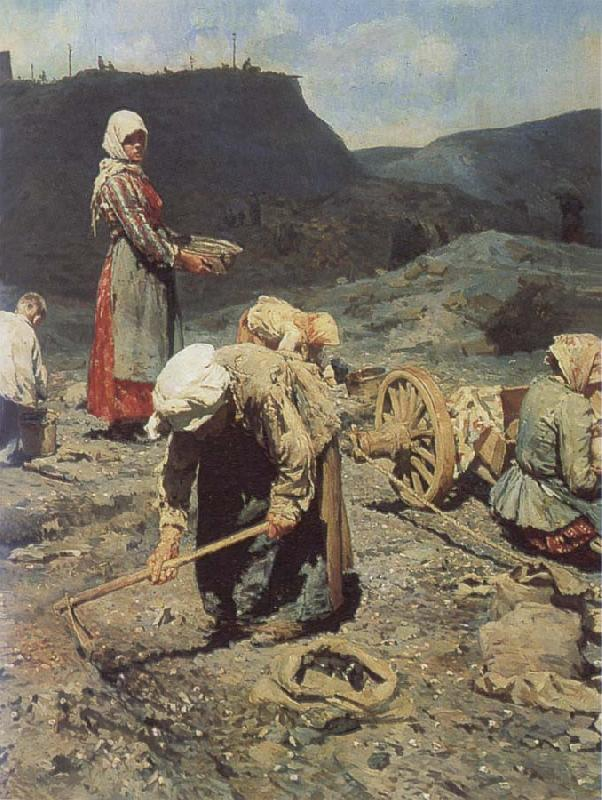 Nikolai Kasatkin Poor People Collecting Coal in an Abandoned Pit oil painting picture