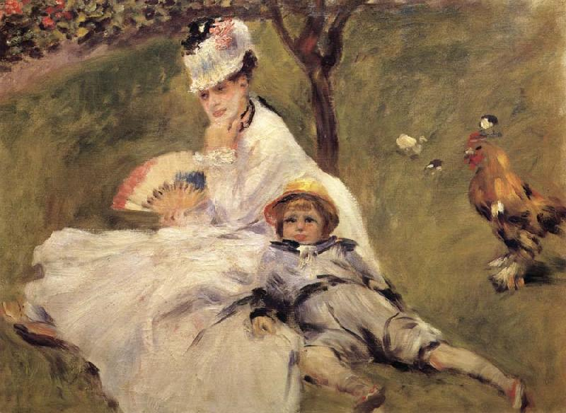 Pierre-Auguste Renoir Madame Claude Monet aver son Fils oil painting picture