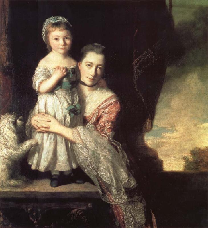 REYNOLDS, Sir Joshua Georgiana,Countess spencer,and Her daughter Georgiana,Later duchess of Devonshire oil painting picture
