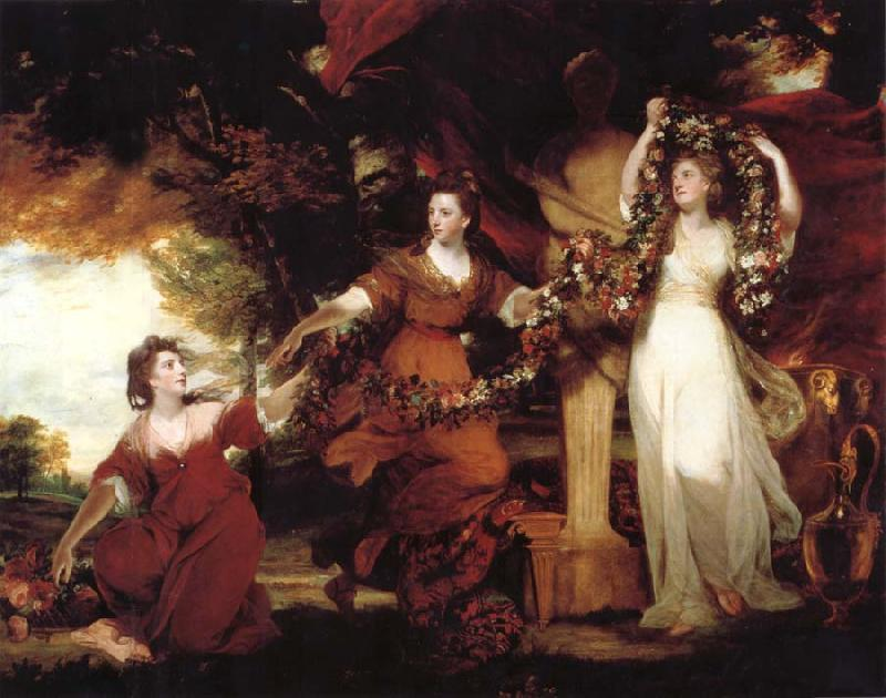 REYNOLDS, Sir Joshua Three Ladies adorning a term of Hymen oil painting picture