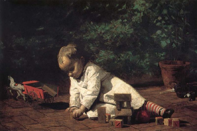 Thomas Eakins The Baby play on the floor oil painting picture