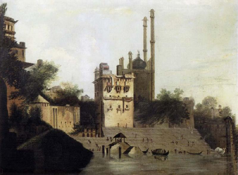 unknow artist View of Benares with Aurangzeb-s Mosque oil painting picture