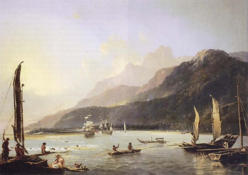 unknow artist A View of Maitavie Bay,in the Island of Otaheite Tahiti oil painting picture