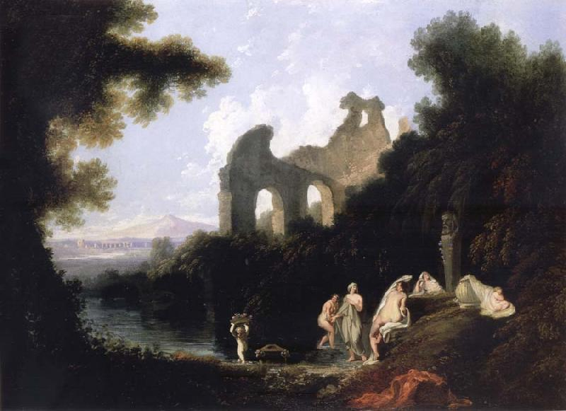 unknow artist Landscape,Ruins and Figure oil painting picture