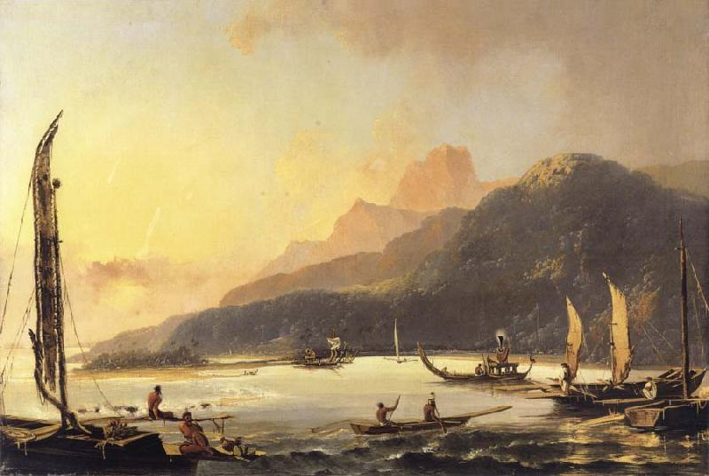 unknow artist A View of Matavai Bay in th Island of Otaheite Tahiti oil painting picture
