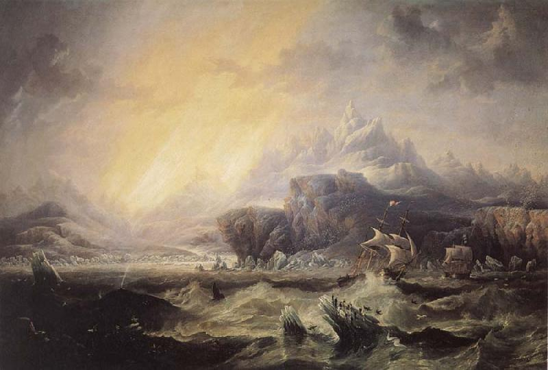 Attributed to john wilson carmichael Erebus and Terror in the Antarctic oil painting image