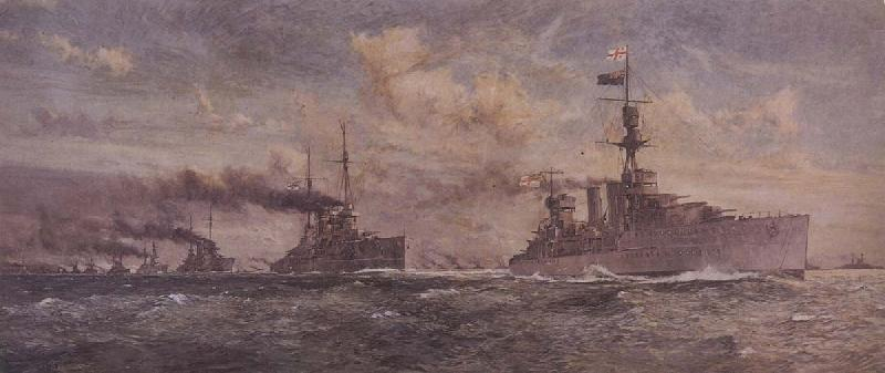Charles Dixon HMS Cardiff leading the surren-dered German Fleet into the Firth of Forth oil painting image