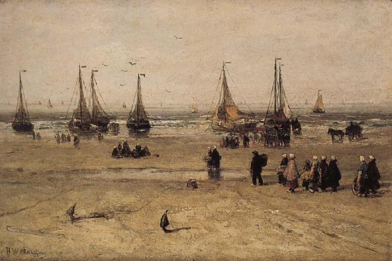 Hendrik Willem Mesdag Flat-bottomed Fishing Pinks and Fisherfolk at Scheveningen oil painting image