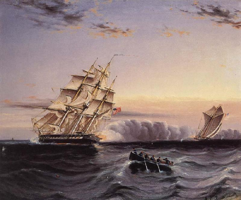 James Edward Buttersworth A U.S Frigate attacking a French Privateer oil painting image