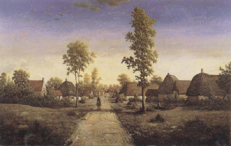 Pierre etienne theodore rousseau The Village of Becquigny oil painting image
