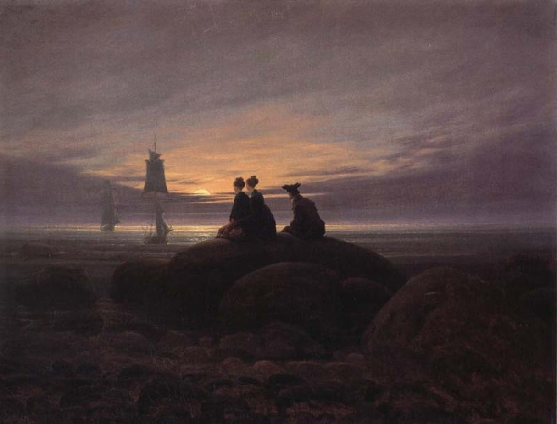 Caspar David Friedrich Moonsise over the Sea oil painting image
