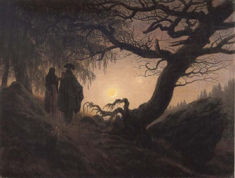 Caspar David Friedrich Man and Woman contemplating the Moon Germany oil painting art