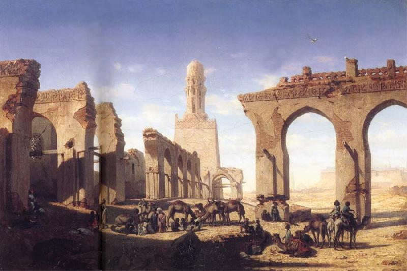 Prosper Marilhat The Ruins of the El Hakim Mosque in Cairo oil painting image