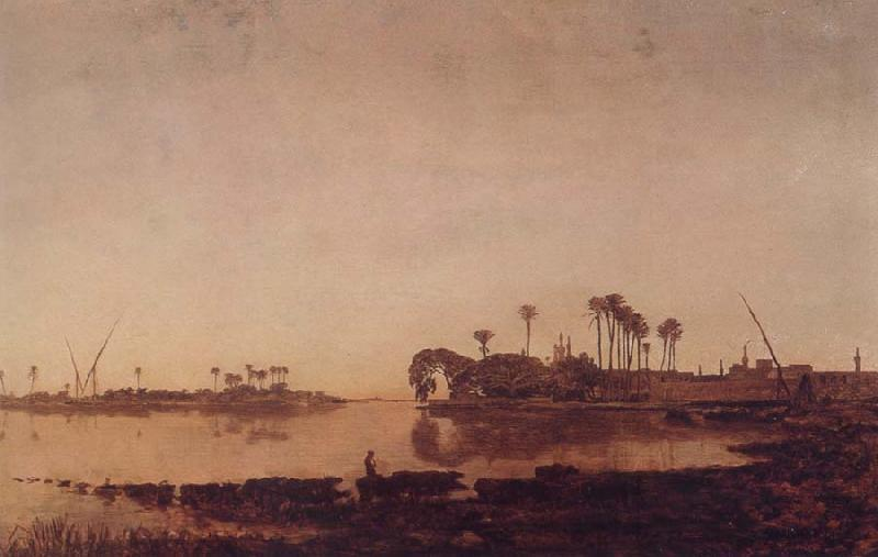 Prosper Marilhat The Banks of the Nile at Damanhur oil painting image