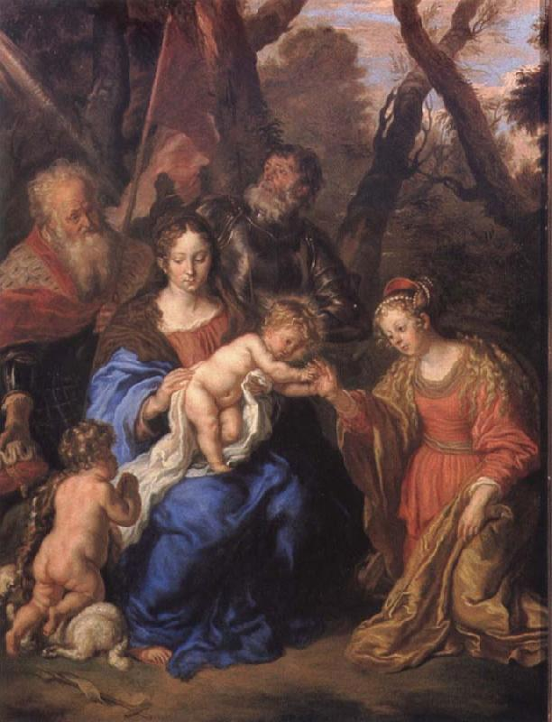 SANDRART, Joachim von The mystic marriage of St Catherine with SS Leopold and William oil painting image