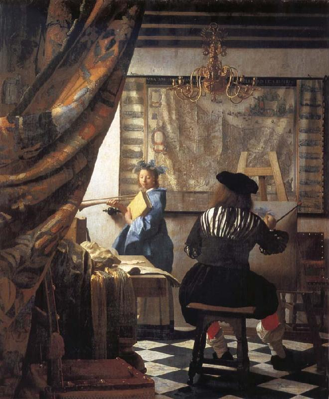 VERMEER VAN DELFT, Jan The Artist in his studio oil painting image