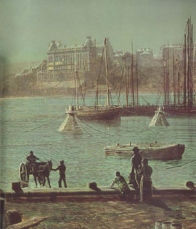 Atkinson Grimshaw Detail of Scarborough Bay oil painting image