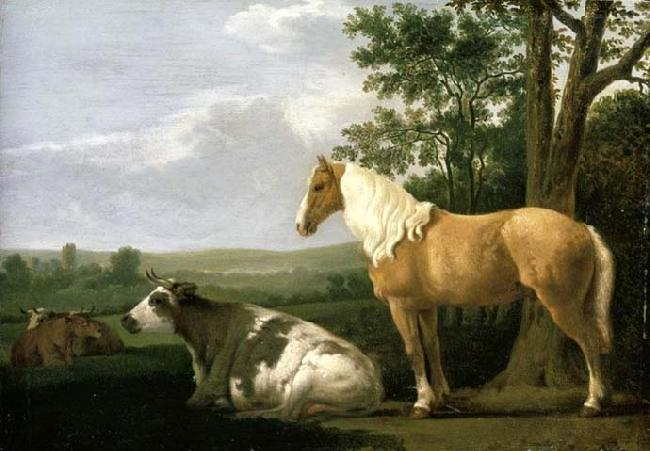 CALRAET, Abraham van A Horse and Cows in a Landscape oil painting image