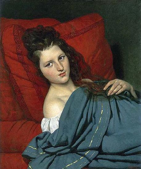 COURTOIS, Jacques Half-length Woman Lying on a Couch oil painting image