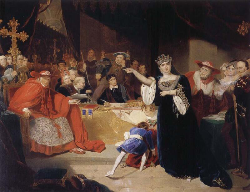 George Henry Harlow The Court for the Trial of Queen Katharine oil painting image
