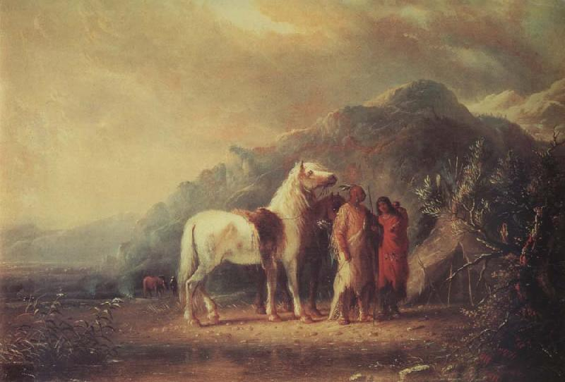 Alfred Jacob Miller Sioux camp Scene oil painting image