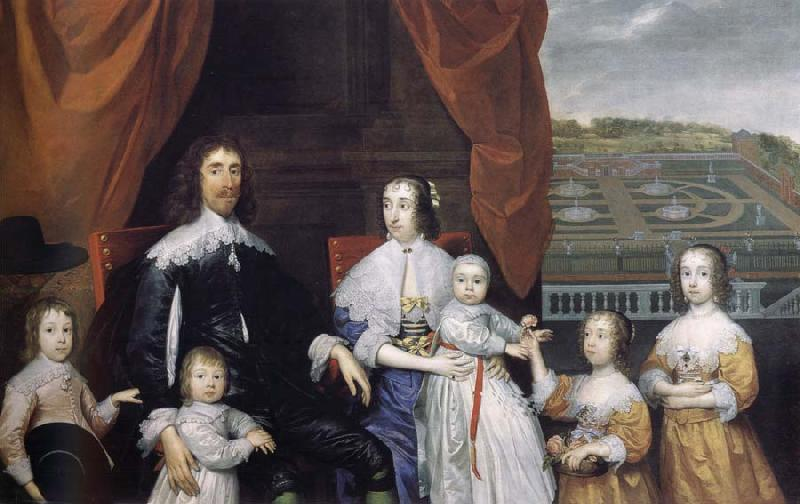 Cornelius Johnson Arthur,1st Baron Capel and his family oil painting image