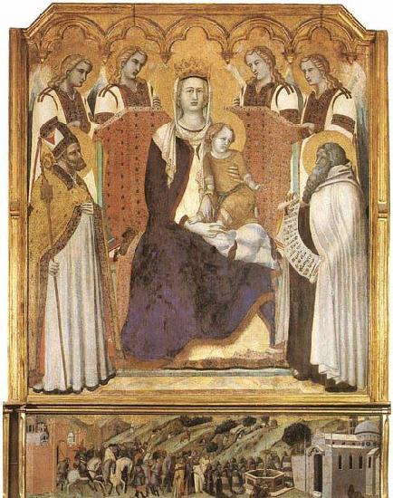 Ambrogio Lorenzetti Madonna with Angels between St Nicholas and Prophet Elisha oil painting image
