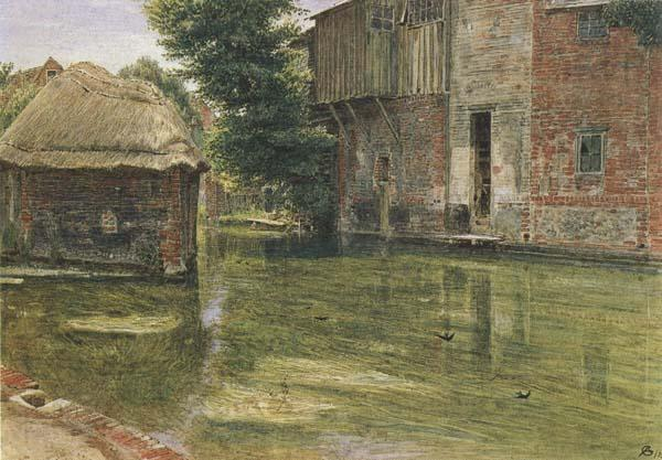 Albert Goodwin,RWS Old Mill,Near Winchester (mk46) oil painting image