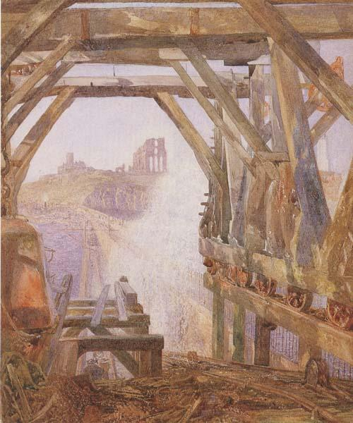 Alfred William Hunt,RWS Travelling Cranes,Diving Bell etc.on the Unfinished Part of Tynemouth Pier  (mk46) oil painting image