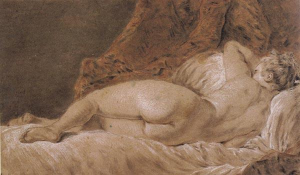 Francois Boucher Reclining female Nude seen from behind oil painting image