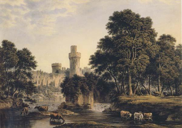 John glover Warwick Castle with Cattle (mk47) oil painting image