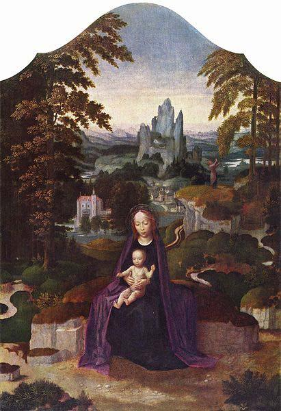 Adriaen Isenbrandt One of many versions of the Rest during the Flight to Egypt attributed to Isenbrandt. oil painting image