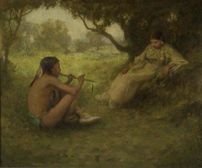 Eanger Irving Couse Lovers  Indian Love Song oil painting image