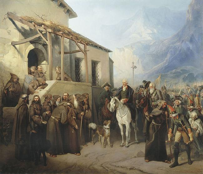 Creator:Adolf Charlemagne. Field Marshal Alexander Suvorov at the top of the St. Gotthard September 13 oil painting image