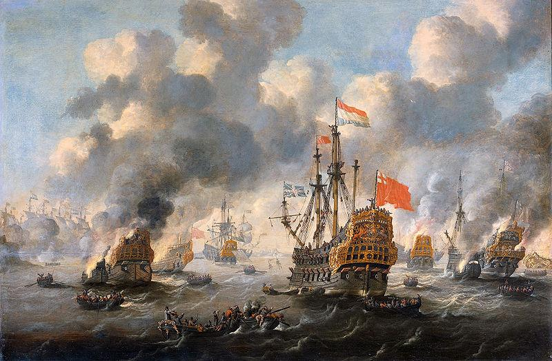 Esaias Van de Velde The burning of the English fleet off Chatham oil painting image