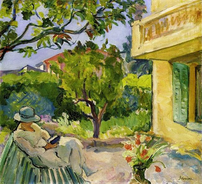 Lebasque, Henri Madame Lebasque Reading in the Garden oil painting picture